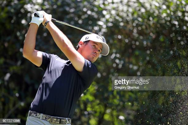 Brian Harman plays his shot from the third tee during the final round of World Golf ChampionshipsMexico Championship at Club De Golf Chapultepec on...