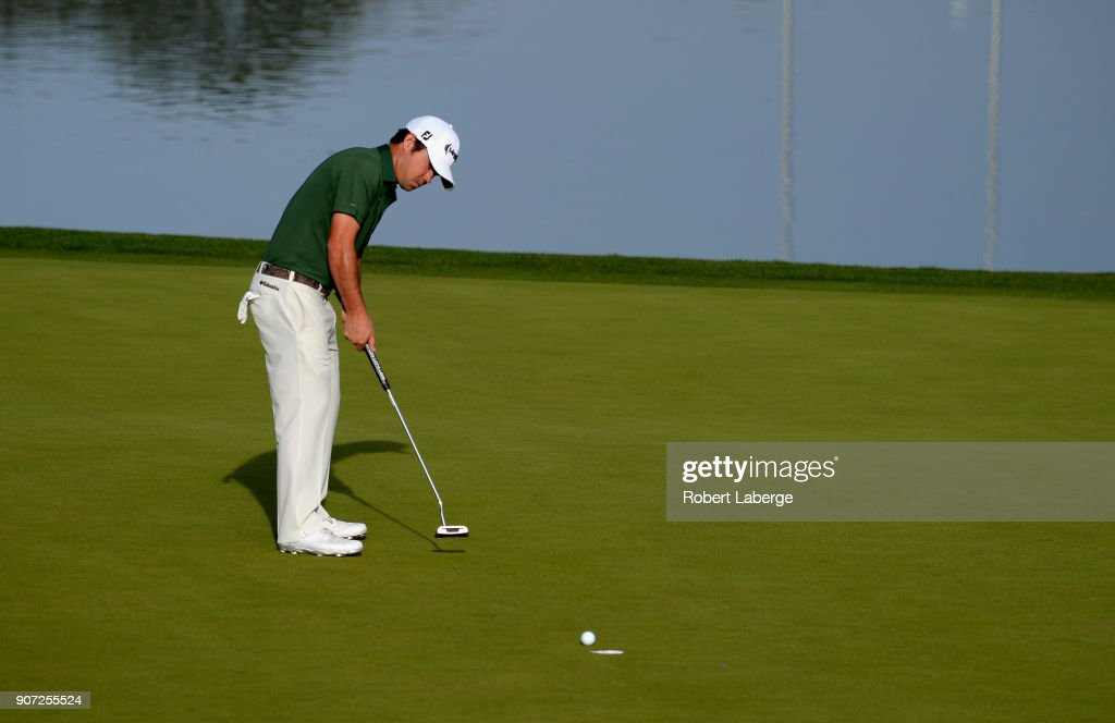 Brian Harman putts on the ninth hole during the second round of the CareerBuilder Challenge at the Jack Nicklaus Tournament Course at PGA West on January 19, 2018 in La Quinta, California.