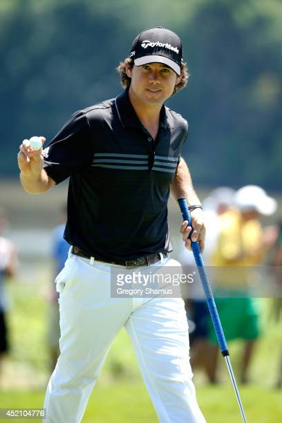Brian Harman reacts after making eagle on the second hole during the final round of the John Deere Classic held at TPC Deere Run on July 13 2014 in...
