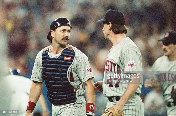 Brian Harper and Jack Morris of the Minnesota Twins during the 1991 American League Championship Series against the Toronto Blue Jays at Hubert H...