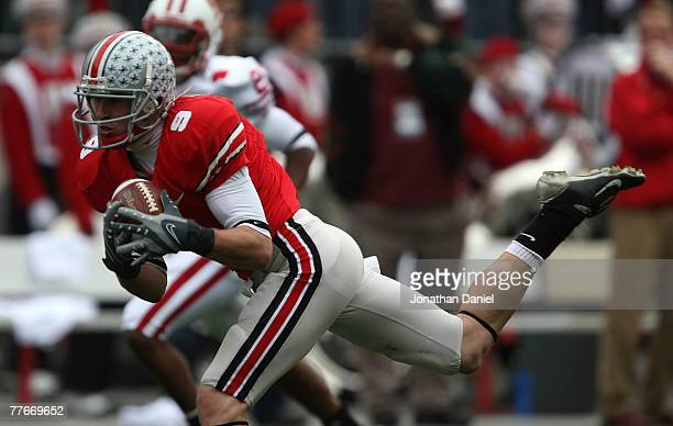 Brian Hartline of the Ohio State Buckeyes hauls in a pass against the Wisconsin Badgers on November 3, 2007 at Ohio Stadium in Columbus, Ohio. Ohio...