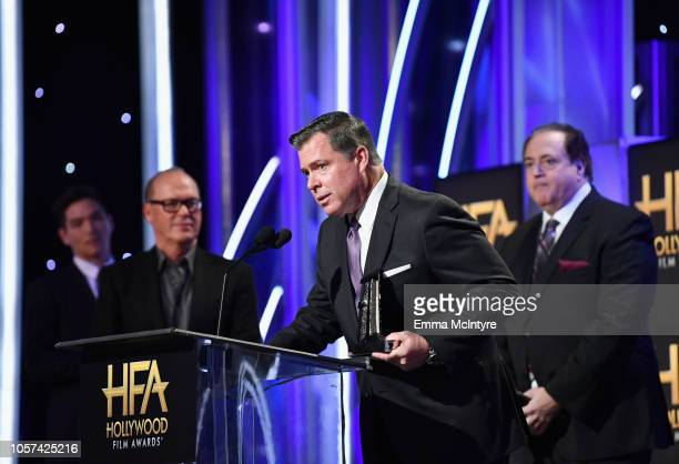 Brian Hayes Currie accepts the Hollywood Screenwriter Award for 'Green Book' onstage during the 22nd Annual Hollywood Film Awards at The Beverly...