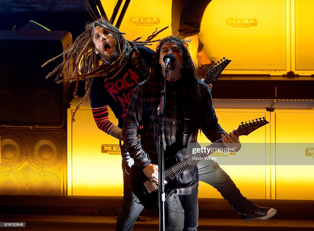 Brian 'Head' Welch and James 'Munky' Shaffer of Korn perform onstage at a private concert for SiriusXM at The Theatre at Ace Hotel on October 21, 2016 in Los Angeles, California. The performance airs live on SiriusXM's Octane Channel.