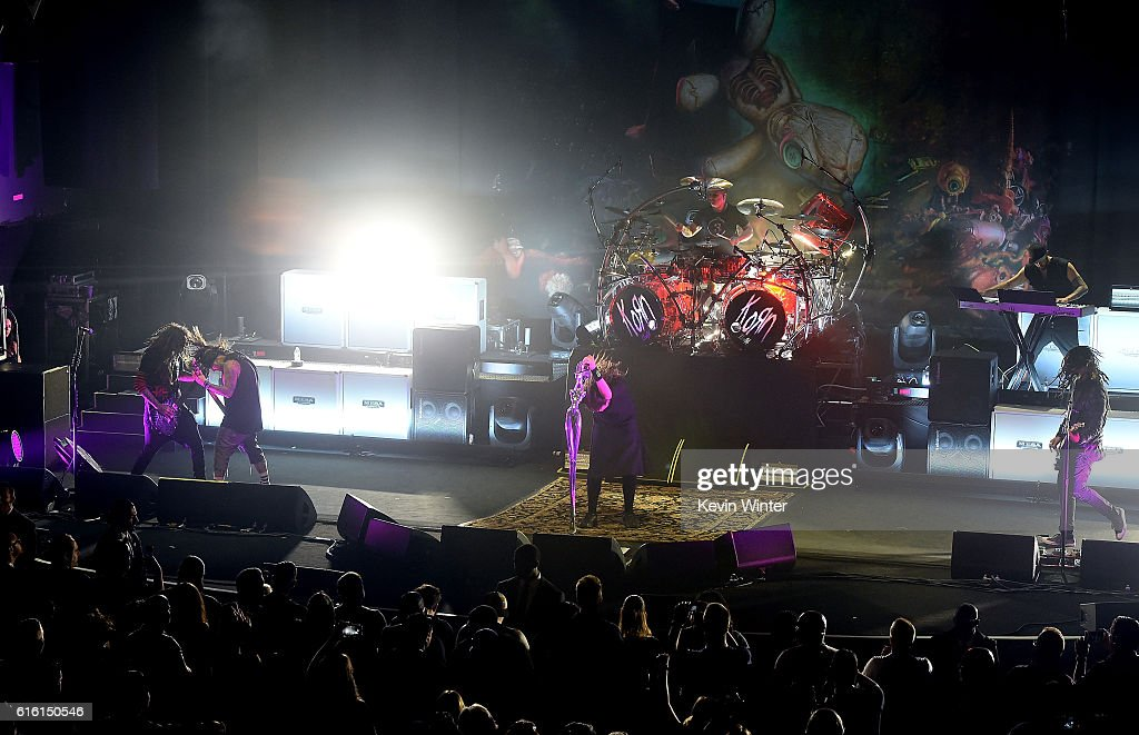 Brian 'Head' Welch, Reginald 'Fieldy' Arvizu, Jonathan Davis, Ray Luzier, and James 'Munky' Shaffer of Korn perform onstage at a private concert for SiriusXM at The Theatre at Ace Hotel on October 21, 2016 in Los Angeles, California. The performance airs live on SiriusXM's Octane Channel.