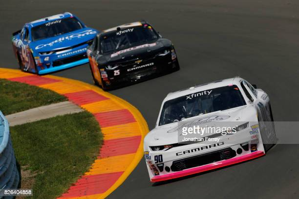 Brian Henderson driver of the BDL Motorsports Chevrolet leads a pack of cars during practice for the NASCAR XFINITY Series Zippo 200 at The Glen at...