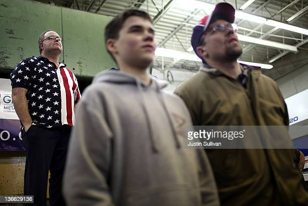 Brian Henderson looks on during a campaign rally for Republican presidential candidate former Massachusetts Gov Mitt Romney at Gilchrist Metal...