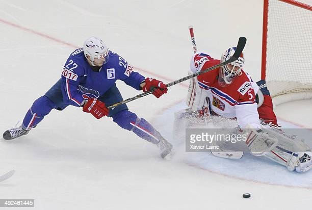 Brian Henderson of France and Alexander Salak Czech Republic in action during the 2014 IIHF World Championship between France and Czech Republic at...