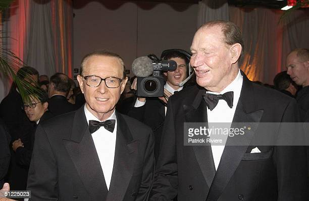Brian Henderson with Kerry Packer at the Channel Nine predrinks party for Brian Henderson 'Toasted and Roasted' Special farwell after 46 years in TV...