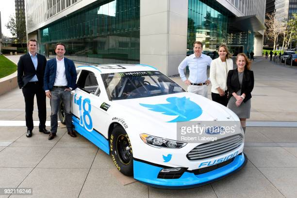 Brian Herbst NASCAR managing director broadcasting Scott Warfield NASCAR managing director social and digital content Brad Keselowski driver of the...