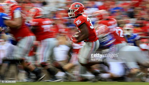 Brian Herrien of the Georgia Bulldogs in action during the second quarter of the game against the Florida Gators at EverBank Field on October 29 2016...