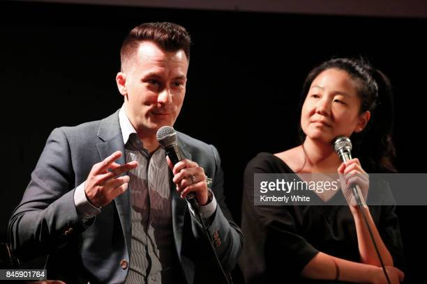 Brian Hinman and Minna Choi participate in a town hall event held at The Chapel on September 11 2017 in San Francisco California hosted by the San...