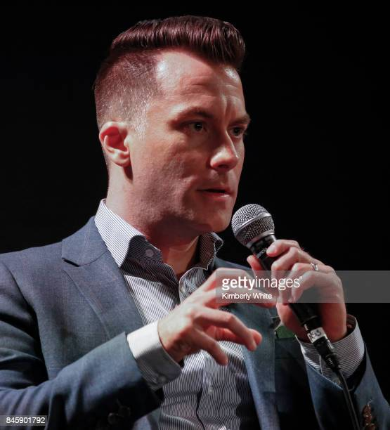 Brian Hinman speaks at a town hall event held at The Chapel on September 11 2017 in San Francisco California hosted by the San Francisco Chapter...