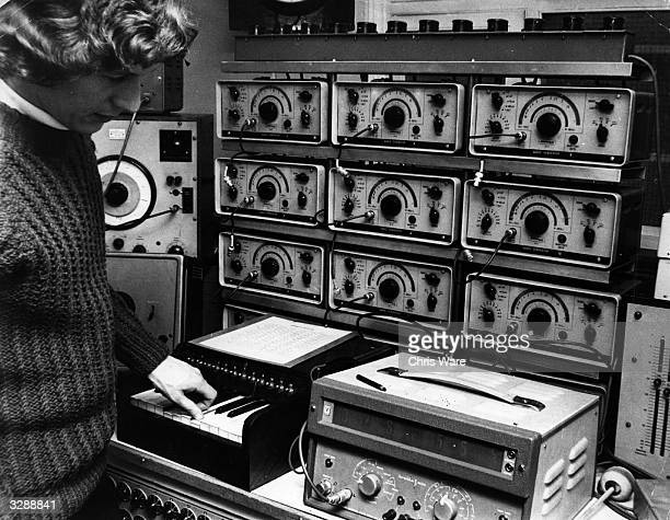 Brian Hodgson tunes the audio generators at the BBC's Radiophonic Workshop Maida Vale London 22nd March 1969 The workshop provides incidental music...