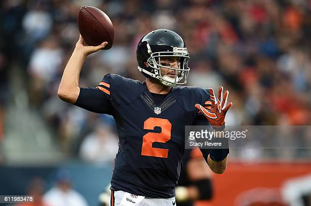 Brian Hoyer of the Chicago Bears looks to pass during the first half of a game against the Detroit Lions at Soldier Field on October 2 2016 in...