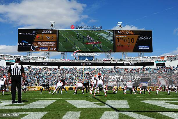 Brian Hoyer of the Cleveland Browns calls a play against the Jacksonville Jaguars at EverBank Field on October 19 2014 in Jacksonville Florida