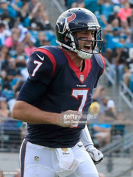 Brian Hoyer of the Houston Texans celebrates a touchdown during the game against the Jacksonville Jaguars at EverBank Field on October 18 2015 in...