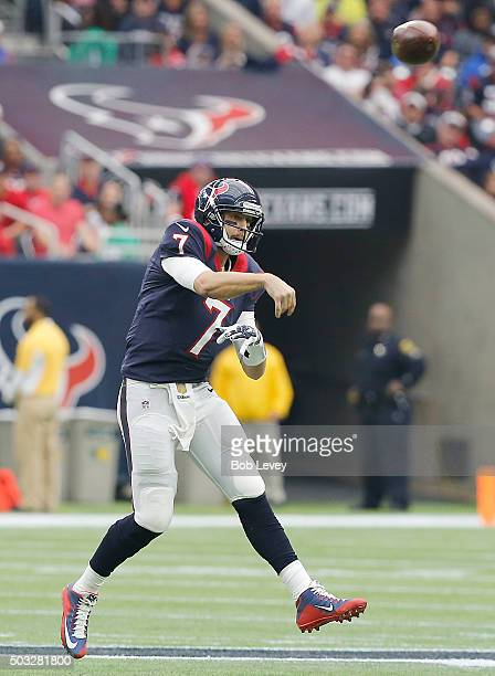 Brian Hoyer of the Houston Texans passes against the Jacksonville Jaguars in the first quarter on January 3 2016 at NRG Stadium in Houston Texas