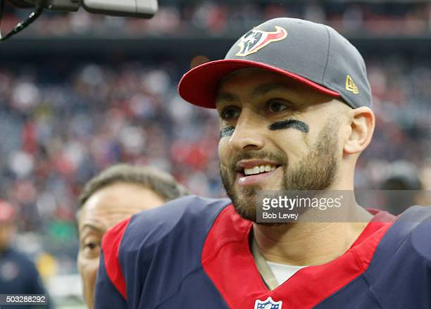 Brian Hoyer of the Houston Texans smiles after defeating the Jacksonville Jaguars on January 3 2016 at NRG Stadium in Houston Texas Texas won 30 to 6