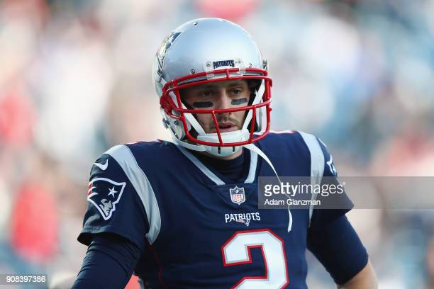 Brian Hoyer of the New England Patriots looks on before the AFC Championship Game against the Jacksonville Jaguars at Gillette Stadium on January 21...