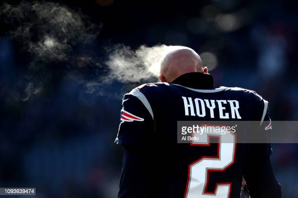 Brian Hoyer of the New England Patriots looks on before the AFC Divisional Playoff Game against the Los Angeles Chargers at Gillette Stadium on...