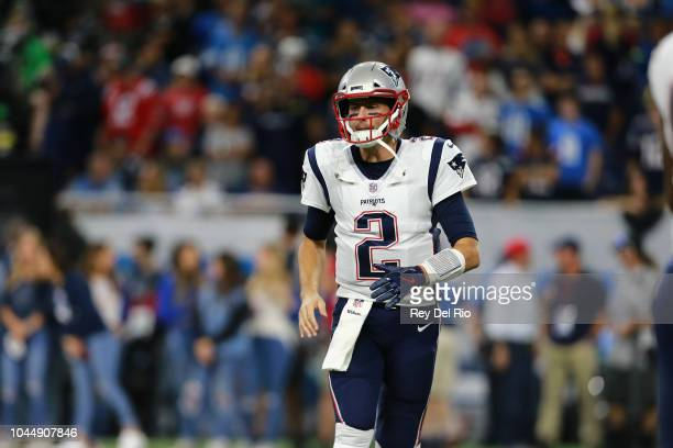 Brian Hoyer of the New England Patriots on the field prior to the start of the game against the Detroit Lions at Ford Field on September 23 2018 in...