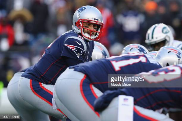 Brian Hoyer of the New England Patriots stands under center during the second half against the New York Jets at Gillette Stadium on December 31 2017...