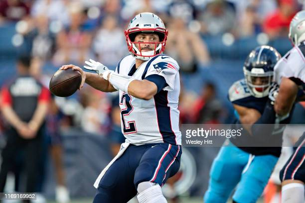 Brian Hoyer of the New England Patriots throws a pass during a game against the Tennessee Titans during week two of the preseason at Nissan Stadium...
