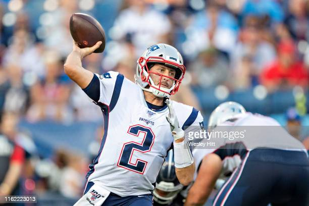 Brian Hoyer of the New England Patriots throws a pass during a week two preseason game against the Tennessee Titans at Nissan Stadium on August 17...