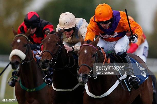 Brian Hughes riding Great Hall clear the last to win The 32RedSportcom Maiden Hurdle Race at Huntingdon racecourse on October 13 2015 in Huntingdon...