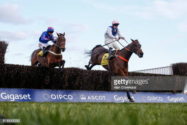 Brian Hughes riding Waiting Patiently clear the last to win The Betfair Ascot Steeple Chase from Cue Card at Ascot Racecourse on February 17 2018 in...