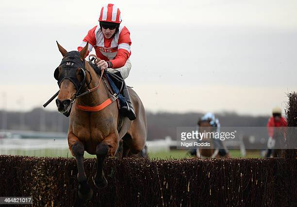 Brian Hughesriding The Panama Kid jumps the final fence to win the Sky Bet 'Home of the Price Boost' Handicap Steeple Chase at Doncaster racecourse...