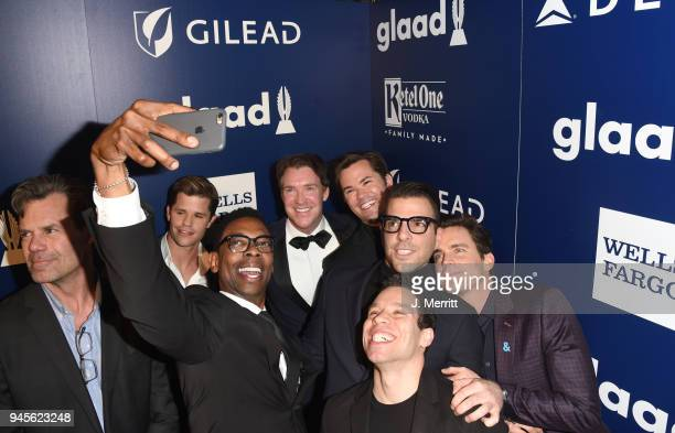 Brian Hutchison Matt Bomer Tuc Watkins Andrew Rannells Charlie Carver Michael B Washington Zachary Quinto and Robin DeJesus pose backstage at the...
