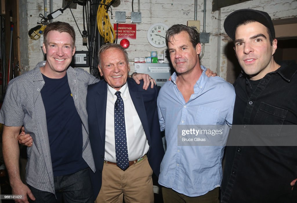 Brian Hutchison, Tab Hunter, Tuc Watkins and Zachary Quinto pose backstage at the hit play 'The Boys in The Band' on Broadway at The Booth Theatre on June 5, 2018 in New York City.