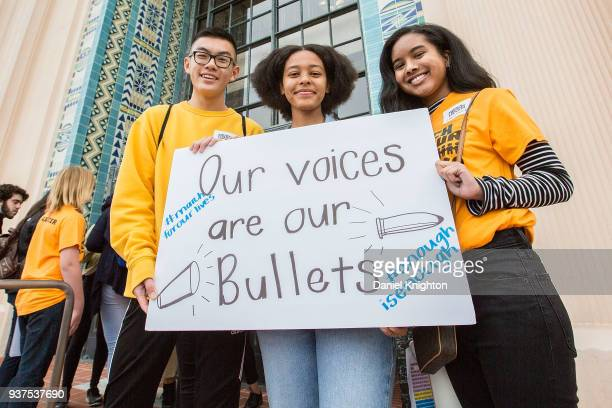 Brian Huynh Darartu Mulugeta and Maya Dixon all students at Patrick Henry High in San Diego attend the March For Our Lives on March 24 2018 in San...
