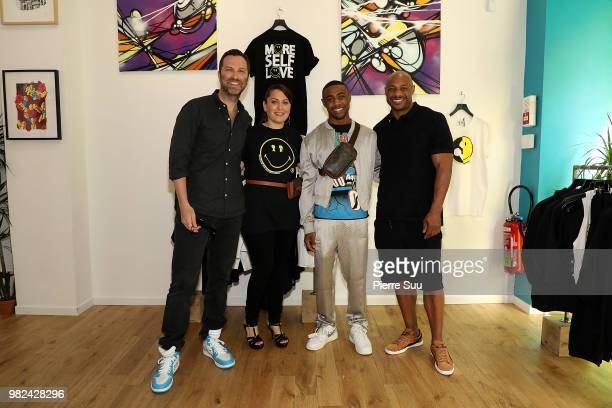 Brian IgelStacy Igel Kareem Burke jr and Kareem Burke attend the Boy Meets Girl Black Label X Smiley Original as part of Paris Fashion Week on June...