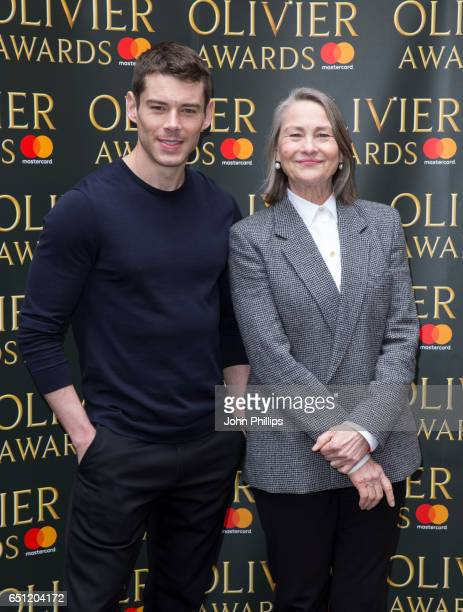 Brian J Smith and Cherry Jones attend the Olivier Awards nominations celebration on March 10 2017 in London United Kingdom