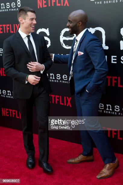 Brian J Smith and Toby Onwumere attend Netflix's Sense8 Series Finale Fan Screening at ArcLight Hollywood on June 7 2018 in Hollywood California