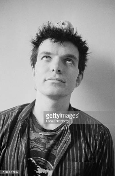 Brian James of The Damned and Lords of the New Church pictured at home London 1982