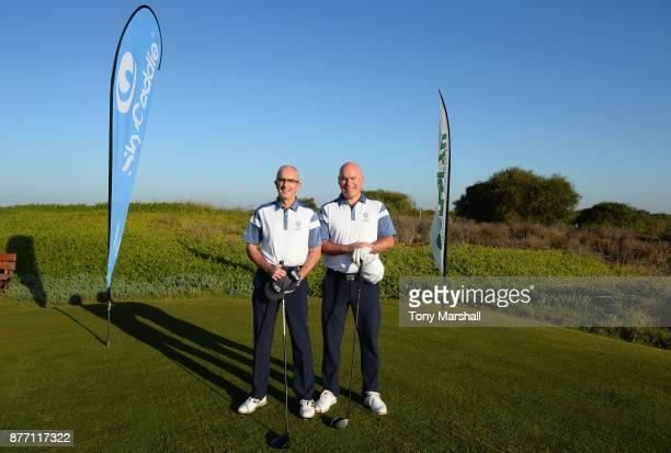 Brian Jamieson Captian of Airdrie Golf Club and Simon McLean of Airdrie Golf Club pose for a photo on the 1st tee during Day One of the SkyCaddie PGA...