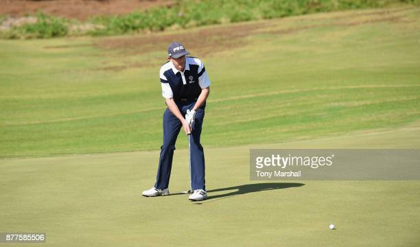 Brian Jamieson Captian of Airdrie Golf Club putts during Day Two of the SkyCaddie PGA ProCaptain Challenge Grand Final at Mazagan Beach resort on...