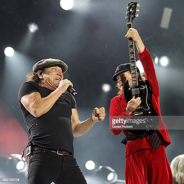 Brian Johnson and Angus Young and AC/DC perform during their 'Rock or Bust' World Tour at Etihad Stadium on December 6 2015 in Melbourne Australia