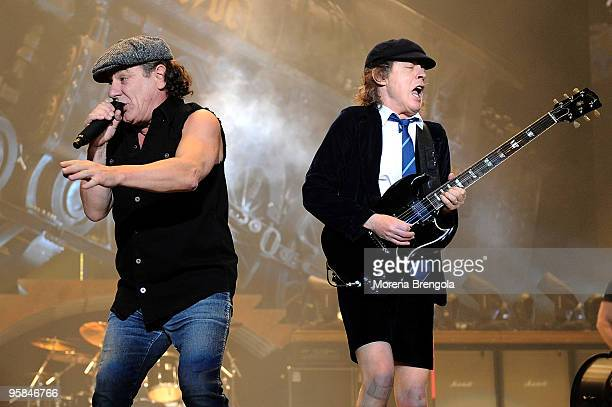 Brian Johnson and Angus Young of AC/DC perform at Datch forum on March 19 2009 in Milan Italy