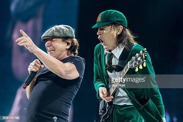 Brian Johnson and Angus Young of AC/DC perform at Tacoma Dome on February 2 2016 in Tacoma Washington