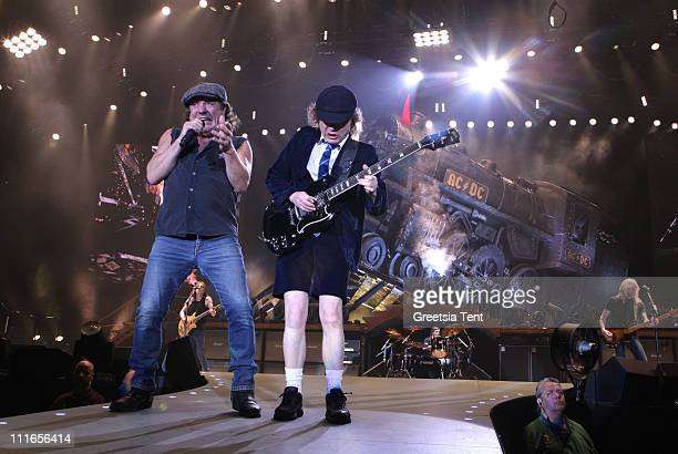 Brian Johnson and Angus Young of AC/DC perform live at Ahoy on March 13 2009 in Rotterdam Netherlands
