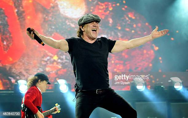 Brian Johnson and Angus Young of AC/DC perform live on stage during the 'Rock or Bust' World Tour at Wembley Stadium on July 4 2015 in London United...
