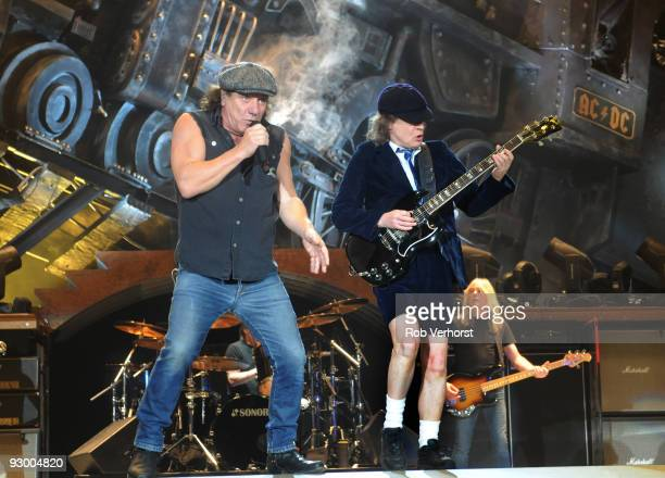 Brian Johnson and Angus Young of AC/DC perform on stage at Ahoy on March 13th 2009 in Rotterdam, Netherlands.