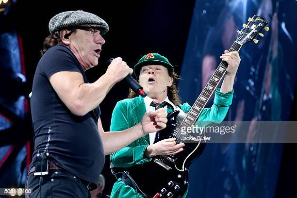 Brian Johnson and Angus Young of AC/DC perform on stage at Tacoma Dome on February 2 2016 in Tacoma Washington