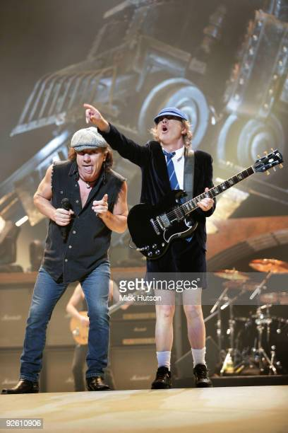 Brian Johnson and Angus Young of AC/DC perform on stage at the Verizon Center in during their 'Black Ice' Tour on November 15th 2008 in Washington DC...