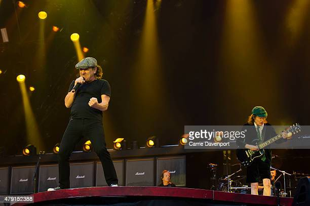 Brian Johnson and Angus Young of AC/DC performs onstage at Aviva Stadium on July 1 2015 in Dublin Ireland