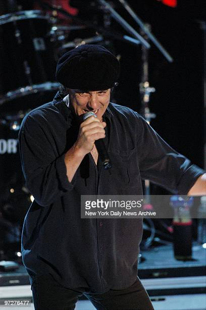 Brian Johnson and his group AC/DC perform Highway to Hell as they were inducted into the Class of 2003 during the Rock and Roll Hall of Fame's 18th...
